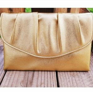Vintage 50's Gold Vinyl Ruched Evening Bag